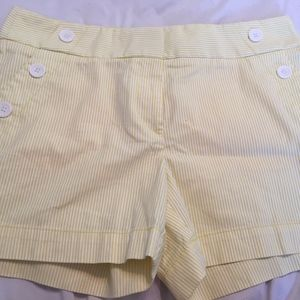 Yellow and White Shorts Ann Taylor Loft